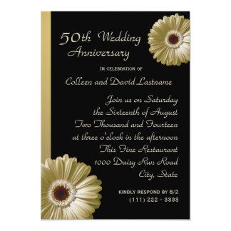 Golden Gerbera Daisy 50th Anniversary 5x7 Paper Invitation Card