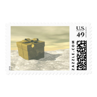 Golden gift for Christmas Postage Stamp