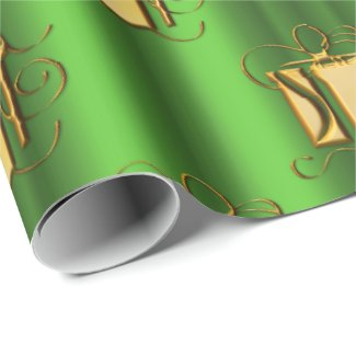 Golden Gifts on Metallic Green Christmas Wrapping Paper