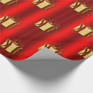 Golden Gifts on Red Christmas Wrapping Paper
