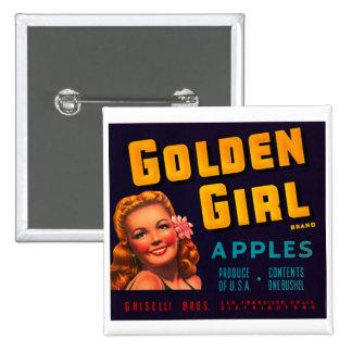 Golden Girl Apples Pinback Button