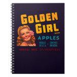 Golden Girl Apples Spiral Note Books