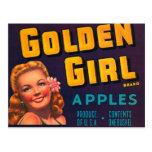Golden Girl Brand Apples Vintage Advertisment Post Cards