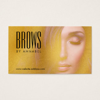 Golden Girl Eyelashes and Brows Salon Business Card