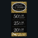 """Golden Glam Custom Salon Coupon Rack Cards<br><div class=""""desc"""">This fabulous gold &amp; black rack card features 3 Coupons on the front and salon info on the back, including a list of services. All info can be edited to suit your business needs, including Coupon amounts and details. Perfectly personalized promotional materials for hairdressers, hair salons, spas and other companies...</div>"""