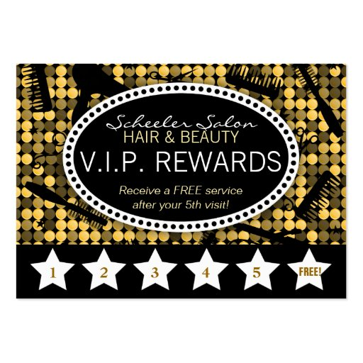 golden glam custom salon loyalty punch card zazzle. Black Bedroom Furniture Sets. Home Design Ideas
