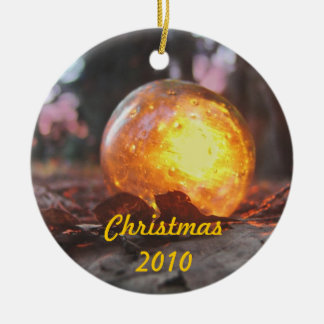 Golden Glass Float Double-Sided Ceramic Round Christmas Ornament
