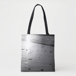 Golden Glassy Sand Grayscale Tote Bag