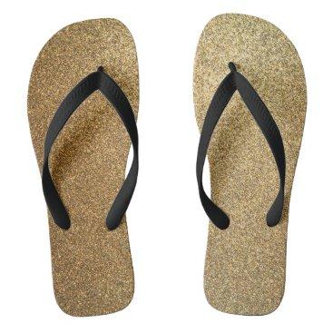 Beach Themed Golden Glitter Abstract Art Wide Strap Sandals