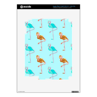 Golden Glitter and Blue Flamingo Pattern iPad 3 Decal
