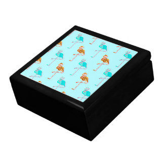 Golden Glitter and Blue Flamingo Pattern Jewelry Box
