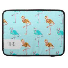 Golden Glitter And Blue Flamingo Pattern Macbook Pro Sleeve at Zazzle