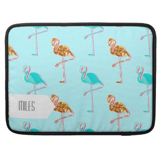 Golden Glitter and Blue Flamingo Pattern MacBook Pro Sleeve