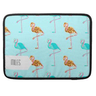Golden Glitter and Blue Flamingo Pattern MacBook Pro Sleeve