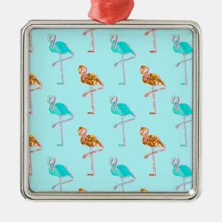 Golden Glitter and Blue Flamingo Pattern Metal Ornament