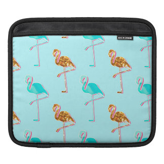 Golden Glitter and Blue Flamingo Pattern Sleeve For iPads