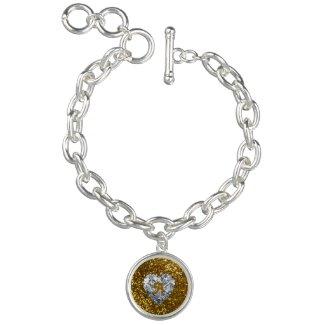 Golden Glitter and Heart Diamond Charm Bracelets