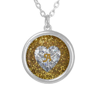 Golden Glitter and Heart Diamond Round Pendant Necklace