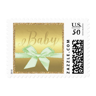 Golden Glitter Baby with Green Bow Postage