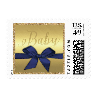 Golden Glitter Baby with Navy Blue Bow Postage Stamp
