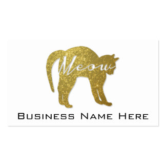 Golden Glitter Cat, Meow Quote Business Card