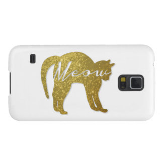 Golden Glitter Cat, Meow Quote Case For Galaxy S5