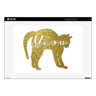 "Golden Glitter Cat, Meow Quote Decals For 15"" Laptops"