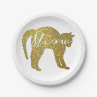 Golden Glitter Cat, Meow Quote Paper Plate