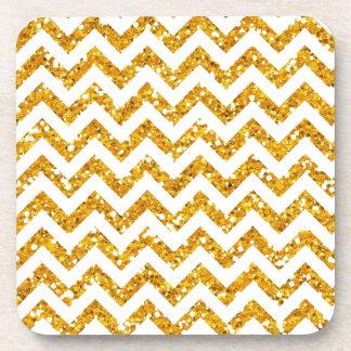 Golden Glitter Chevron Pattern Beverage Coaster