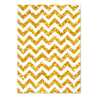 Golden Glitter Chevron Pattern Card