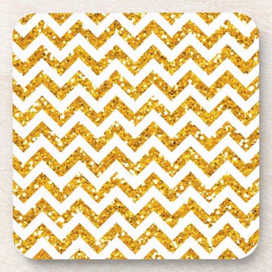 Golden Glitter Chevron Pattern Coaster