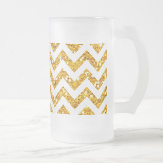 Golden Glitter Chevron Pattern Frosted Glass Beer Mug