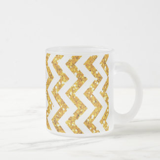 Golden Glitter Chevron Pattern Frosted Glass Coffee Mug