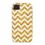 Golden Glitter Chevron Pattern iPhone 4 Covers