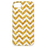 Golden Glitter Chevron Pattern iPhone 5 Cases