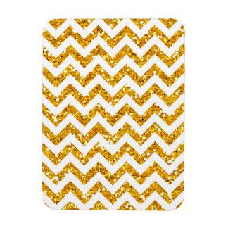Golden Glitter Chevron Pattern Magnet