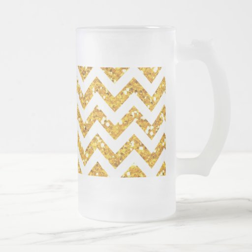 Golden Glitter Chevron Pattern 16 Oz Frosted Glass Beer Mug