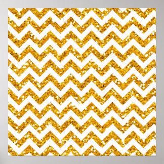 Golden Glitter Chevron Pattern Poster