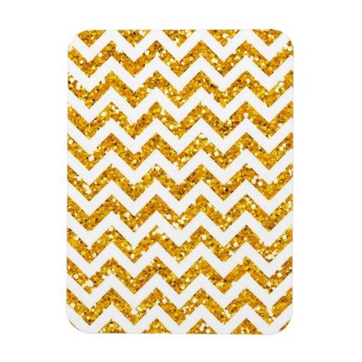 Golden Glitter Chevron Pattern Rectangular Magnet