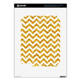 Golden Glitter Chevron Pattern iPad 3 Decals