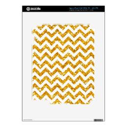 Golden Glitter Chevron Pattern Skin For iPad 3