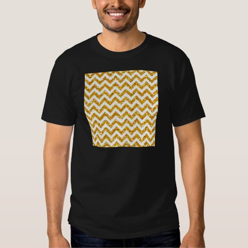 Golden Glitter Chevron Pattern T-Shirt