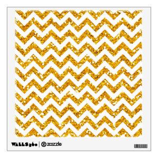 Golden Glitter Chevron Pattern Wall Decal