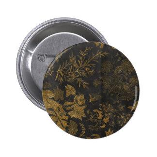Golden Glitter Flowers Black Background Pinback Button