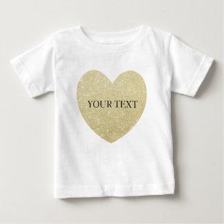 Golden Glitter heart Personalize Baby T-Shirt