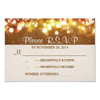 golden glitter string lights romantic wedding RSVP 3.5x5 Paper Invitation Card