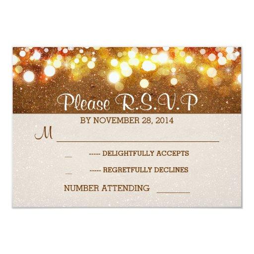 golden glitter string lights romantic wedding RSVP Custom Invites