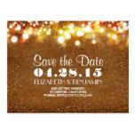 golden glitter string of lights save the date postcard