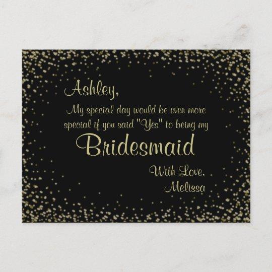 Golden Glitter Will You Be My Bridesmaid Invitation Postcard