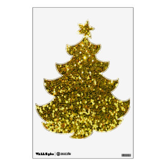 Golden Glitters Christmas Tree Wall Decal